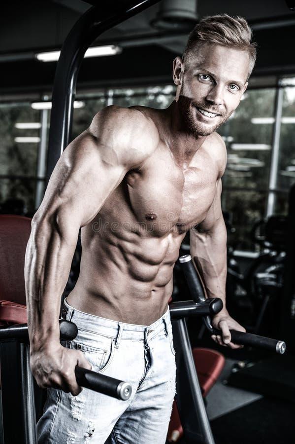 Hommes beaux caucasiens brutaux de forme physique sur le pum de coffre de formation de régime photos stock