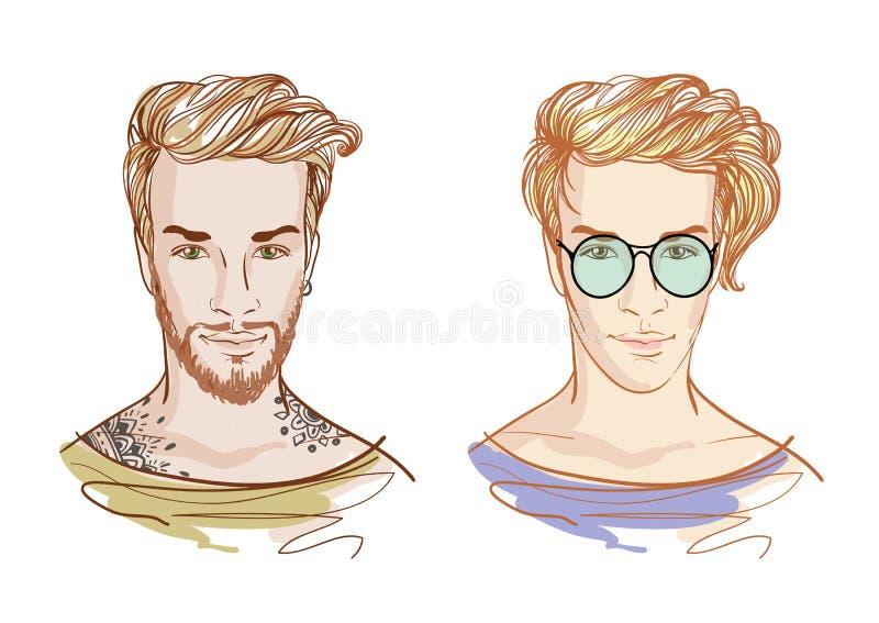 Hommes beaux de mode hippies Illustration de griffonnage de vecteur d'isolement sur le blanc illustration stock