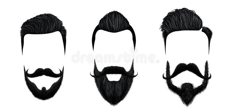 Hommes cheveux et dénommer de moustache Coupe de cheveux de monsieur de cru, barbe de beauté et illustration de vecteur de styles illustration libre de droits