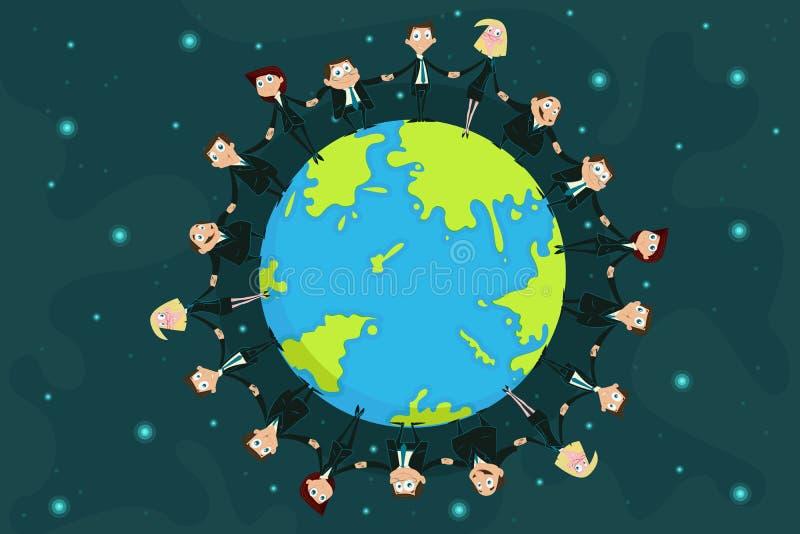 Hommes d'affaires autour de la terre illustration de vecteur