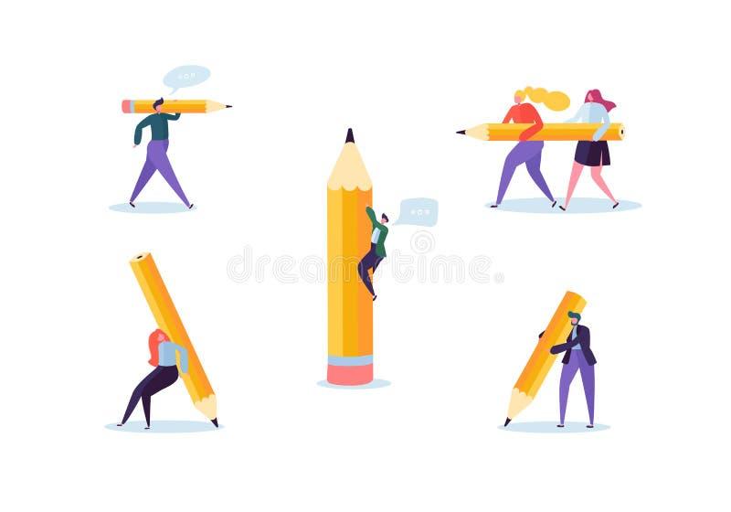 Hommes d'affaires avec de grands crayons Les caractères créatifs traitent l'organisation Homme et femme avec le crayon illustration stock