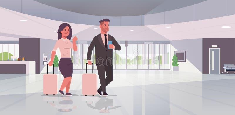 Hommes d'affaires avec la position de couples de bagage au lobby contemporain de valise de participation de femme d'homme d'affai illustration de vecteur