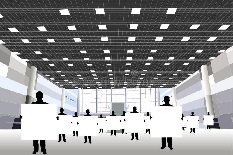 Hommes d'affaires avec le panneau au centre d'affaires illustration de vecteur
