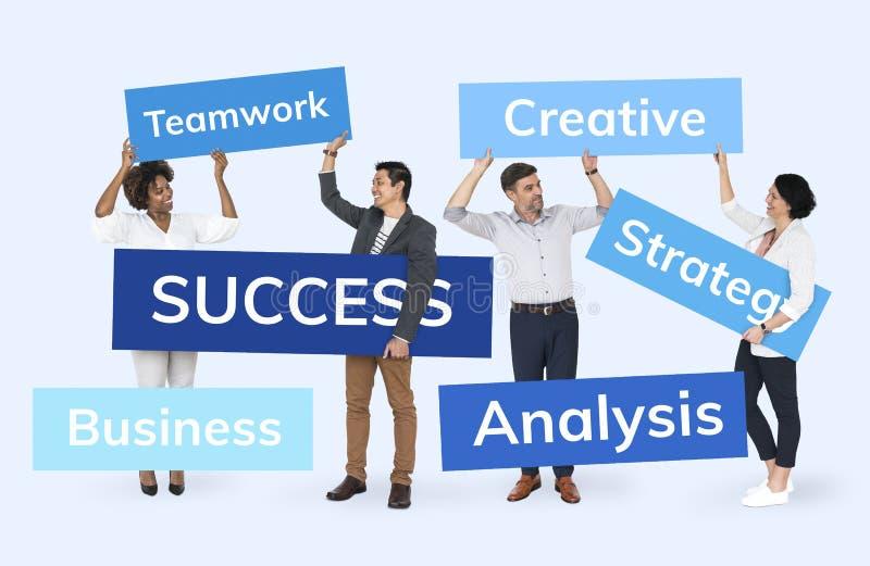 Hommes d'affaires avec un plan pour le succès image stock