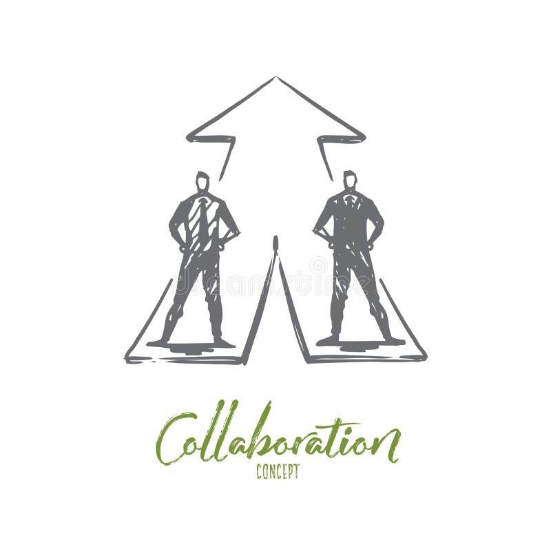 Hommes d'affaires, collaboration, stratégie, concept de coopération Vecteur d'isolement tiré par la main illustration de vecteur