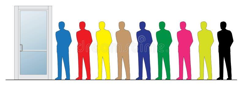 Hommes d'affaires colorés restant à côté de la trappe fermée illustration libre de droits
