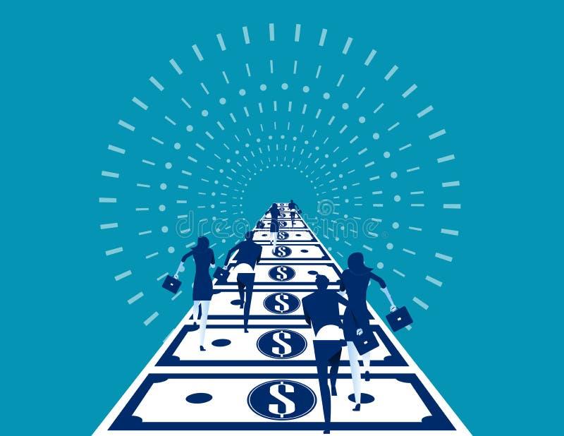 Hommes d'affaires courant sur la route d'argent Illustration de vecteur d'affaires de concept illustration de vecteur