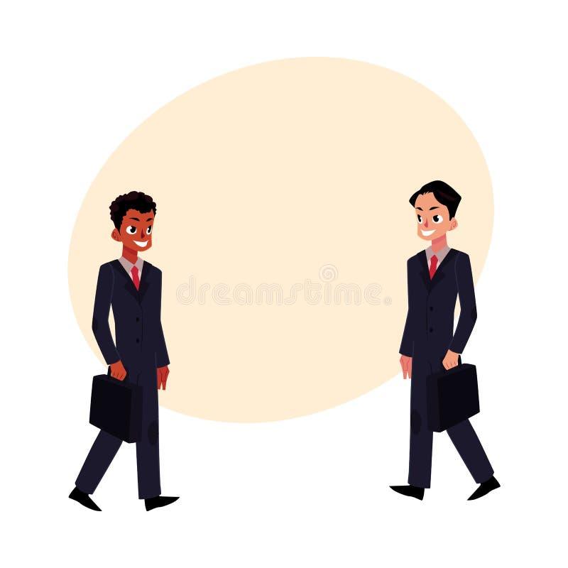 Hommes d'affaires d'africain noir et de Caucasien dans des costumes avec des serviettes illustration de vecteur