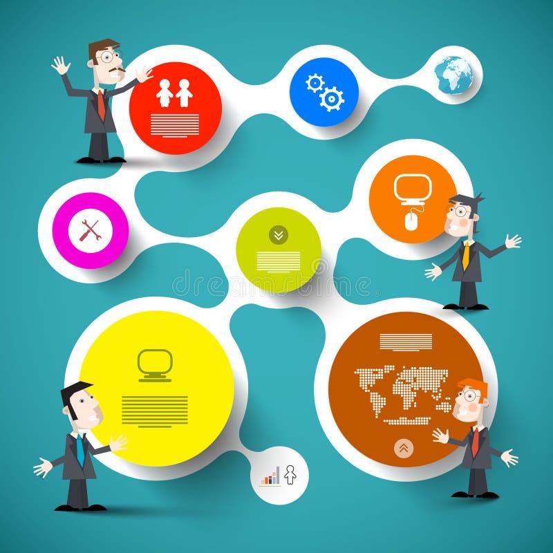 Hommes d'affaires d'esprit de disposition d'Infographic de cercle illustration de vecteur