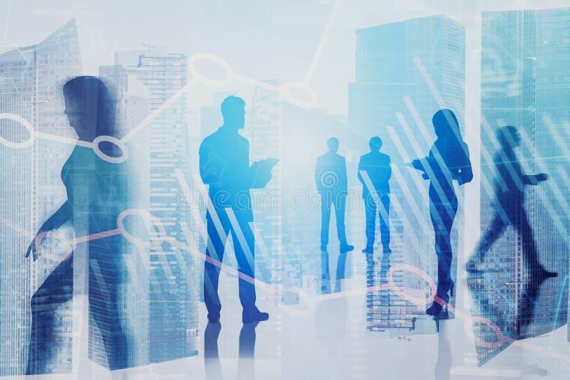 Hommes d'affaires dans la ville, graphique numérique image stock