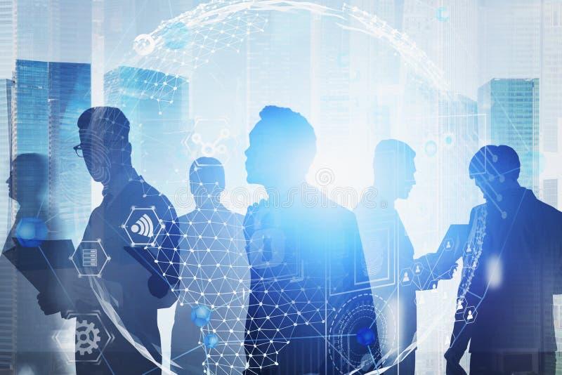 Hommes d'affaires dans la ville, interface d'affaires globales illustration stock