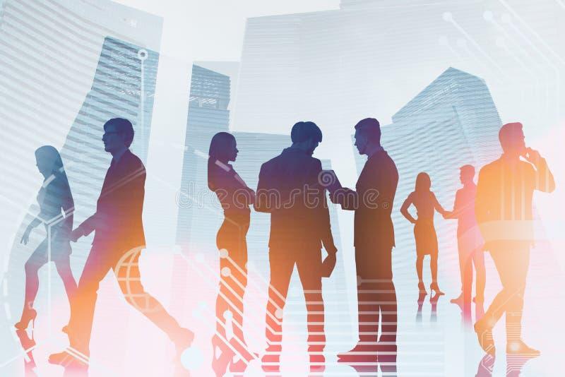 Hommes d'affaires dans la ville, interface d'affaires photo stock