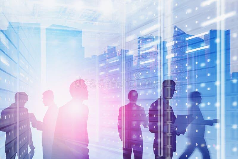 Hommes d'affaires dans la ville moderne, technologie numérique photo stock