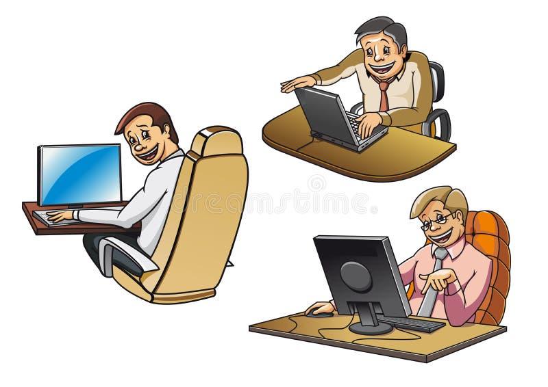 Hommes d'affaires de bande dessinée travaillant sur des ordinateurs illustration libre de droits