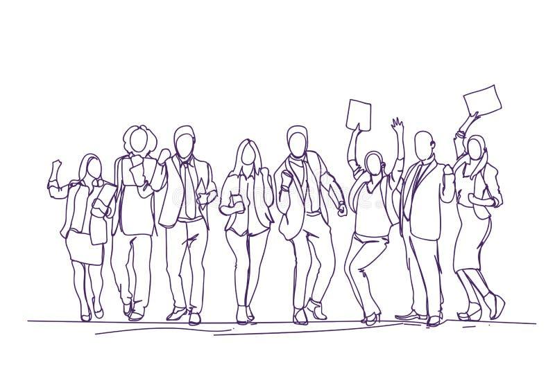 Hommes d'affaires encourageants Team Over White Background, groupe de Skecth de gens d'affaires heureux tirés par la main célébra illustration libre de droits