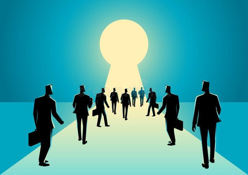 Hommes d'affaires entrant dans le trou de la serrure avec la lumière lumineuse illustration libre de droits