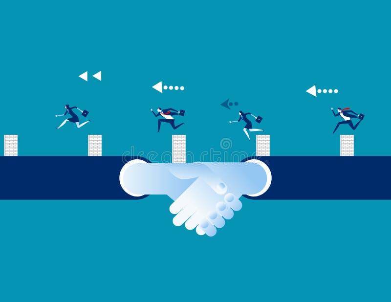 Hommes d'affaires et associés conquérant l'adversité Illustration de vecteur d'affaires de concept, concurrence illustration stock