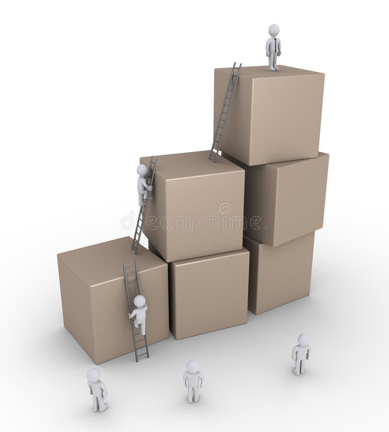 Hommes d'affaires et boîtes avec des échelles illustration stock