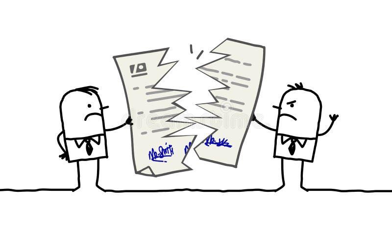 Hommes d'affaires et contrat cassé illustration stock