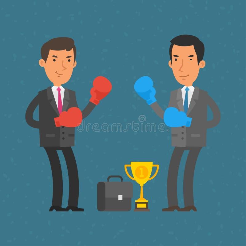 Hommes d'affaires et duel de boxe illustration de vecteur