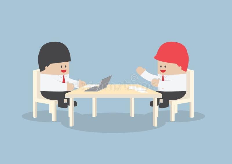 Hommes d'affaires faisant un brainstorm ensemble à la table de conférence illustration de vecteur