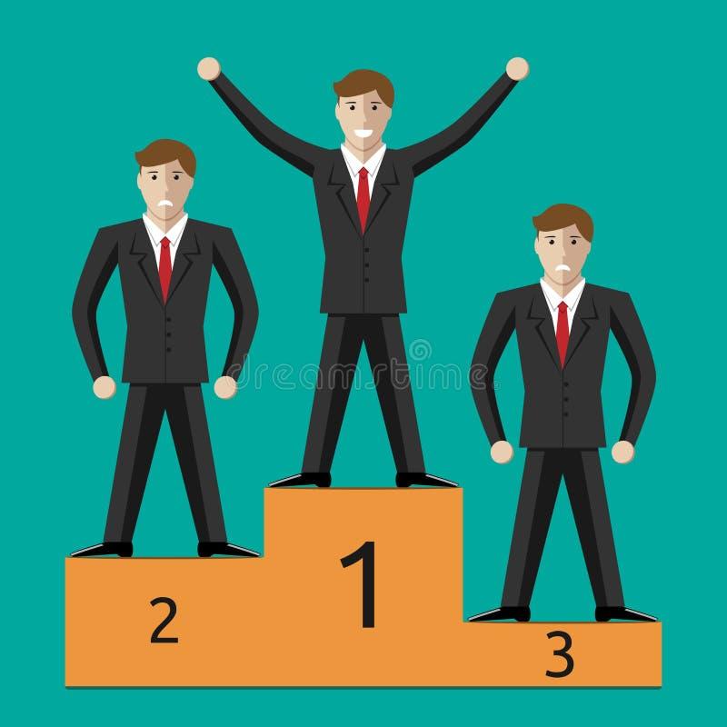 Hommes d'affaires gagnant et perdants illustration de vecteur