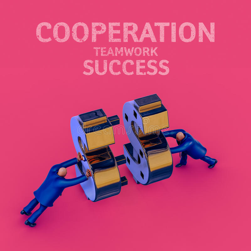Hommes d'affaires gagnant l'argent dans la coopération Illustration de concept d'affaires illustration libre de droits