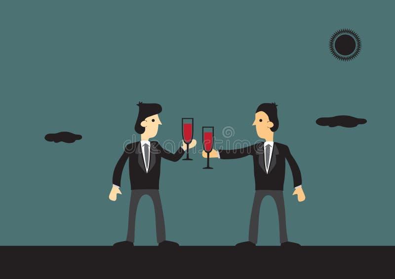 Hommes d'affaires grillant au succès illustration de vecteur