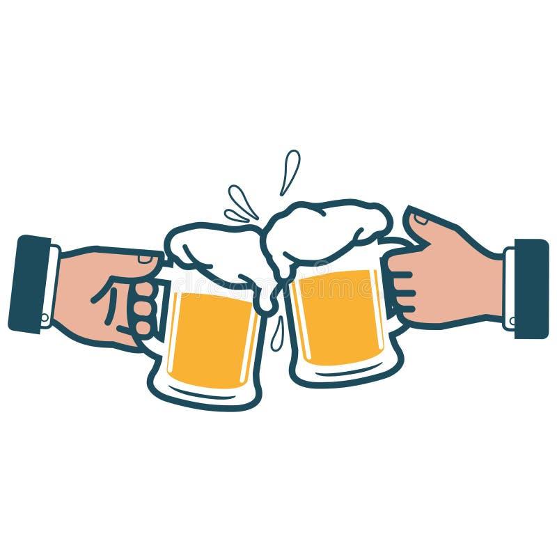 Hommes d'affaires grillant avec de la bière illustration stock