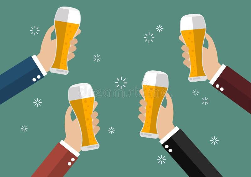Hommes d'affaires grillant des verres de bière illustration de vecteur