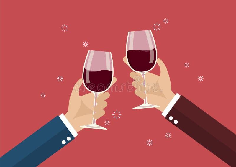 Hommes d'affaires grillant des verres de vin illustration stock