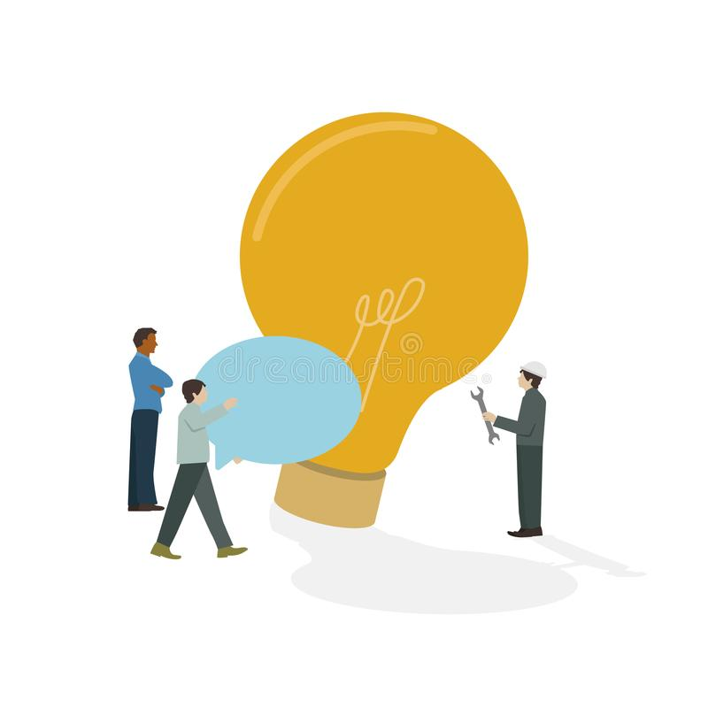Hommes d'affaires illustrés faisant un brainstorm l'icône d'ampoule illustration de vecteur