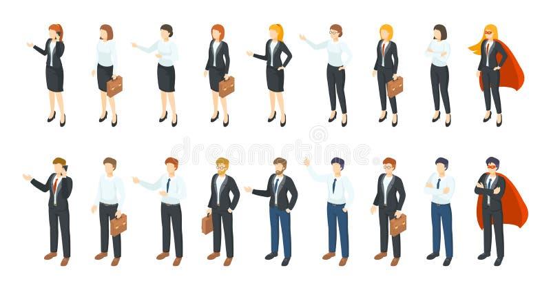 Hommes d'affaires isom?triques Caractères des employés de bureau 3D, différents hommes et femmes se tenant se reposants et commun illustration stock