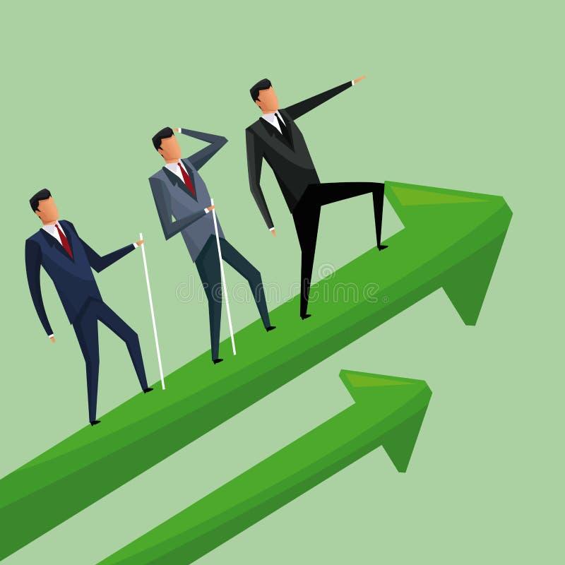 Hommes d'affaires montant la coopération de flèches de croissance illustration stock