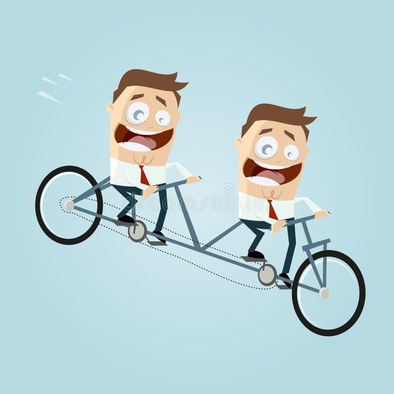 Hommes d'affaires montant un vélo tandem illustration de vecteur