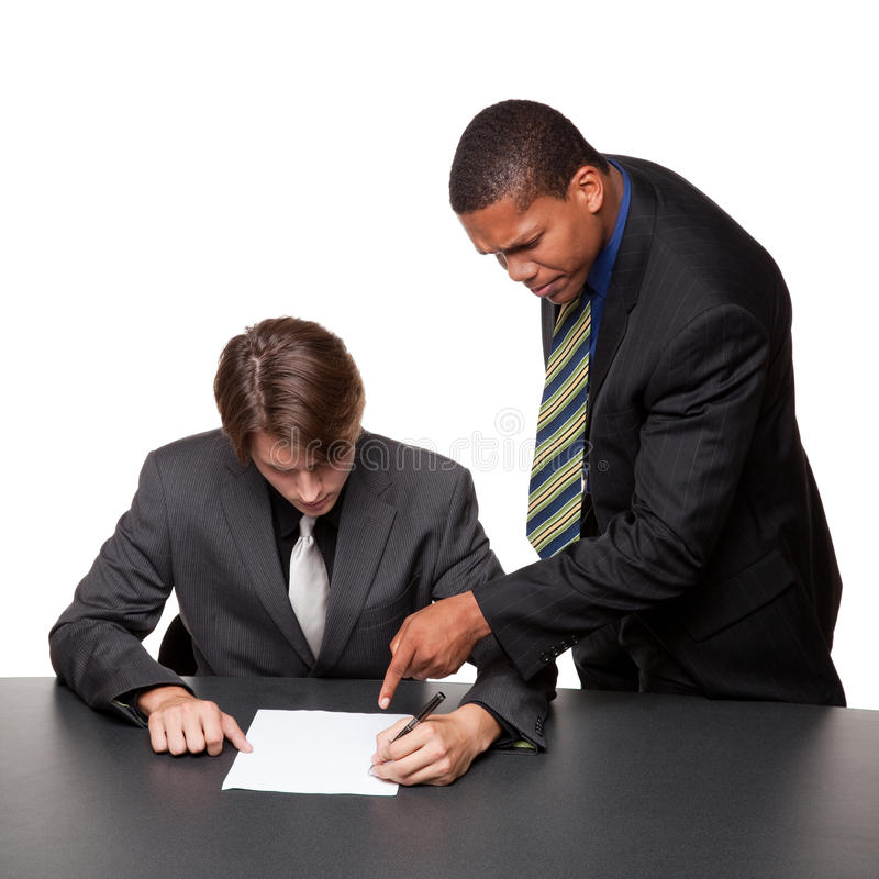Hommes d'affaires - notes de conférence images libres de droits