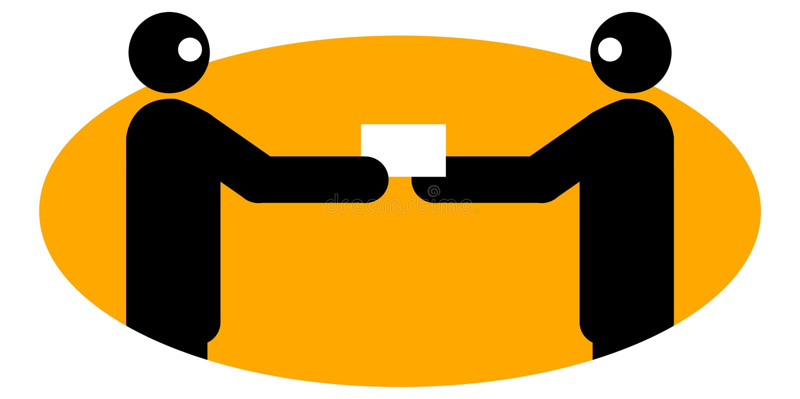 Hommes d'affaires permutant le namecard illustration libre de droits