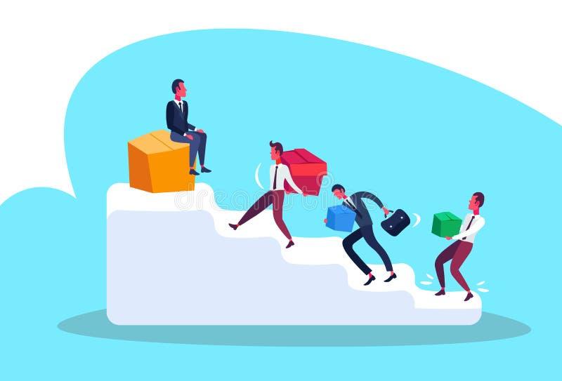 Hommes d'affaires portant l'homme supérieur de concept de direction de concurrence de carrière d'échelle de podium de paquet de b illustration de vecteur