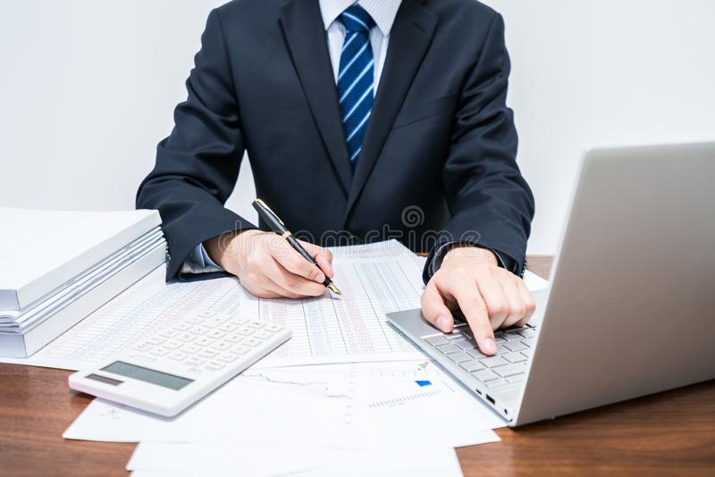 Hommes d'affaires qui emploie la comptabilité informatique photographie stock libre de droits