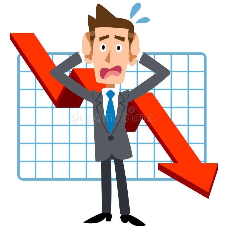 Hommes d'affaires qui luttent avec la dégradation des performances illustration de vecteur