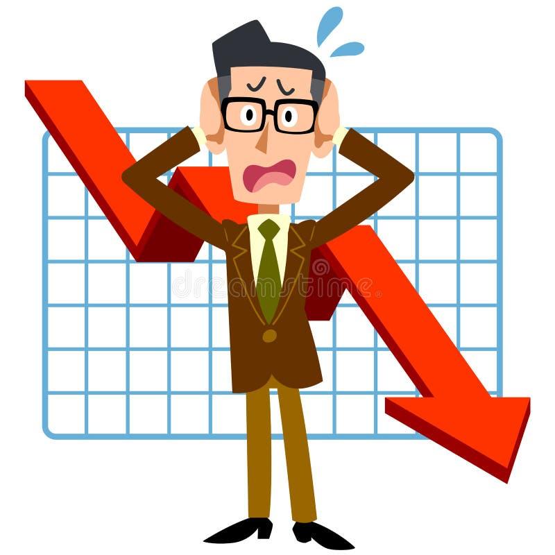 Hommes d'affaires qui luttent avec la dégradation des performances illustration stock