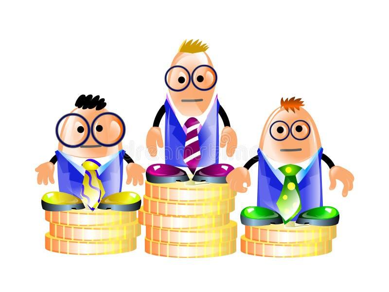 Hommes d'affaires restant sur un pupitre des pièces de monnaie illustration stock