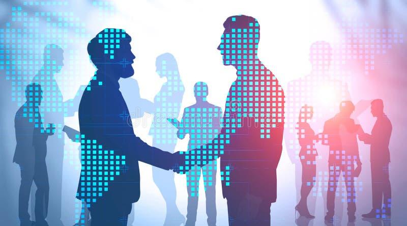 Hommes d'affaires se serrant la main, carte du monde photos stock