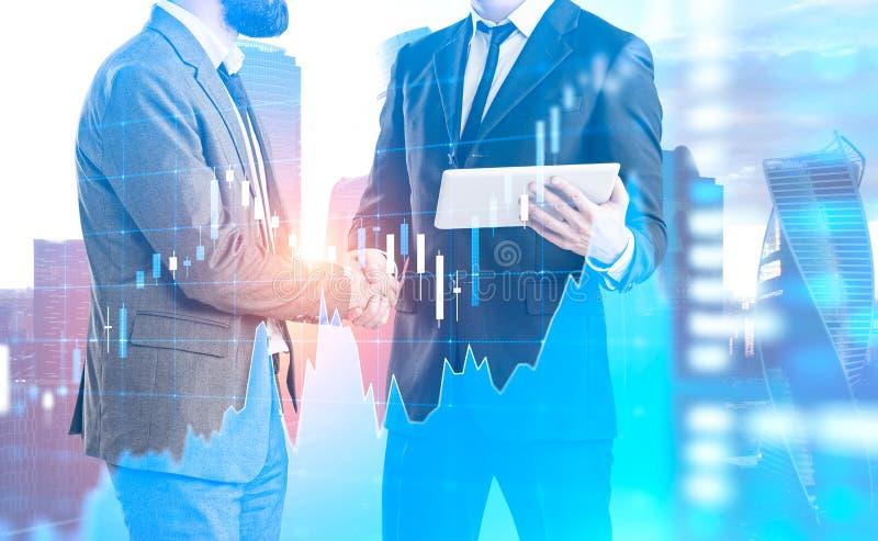 Hommes d'affaires se serrant la main, graphique dans la ville de Moscou illustration de vecteur