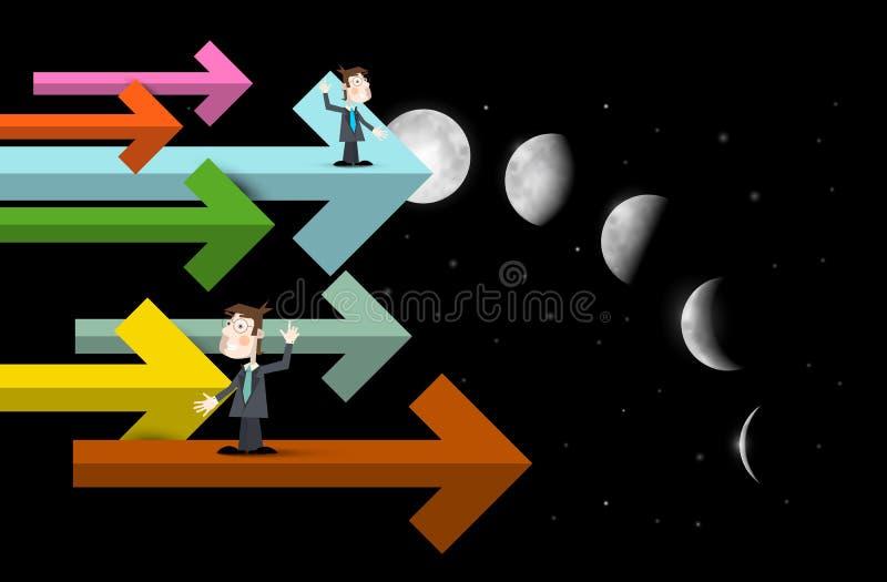 Hommes d'affaires sur des flèches avec des phases de lune illustration libre de droits