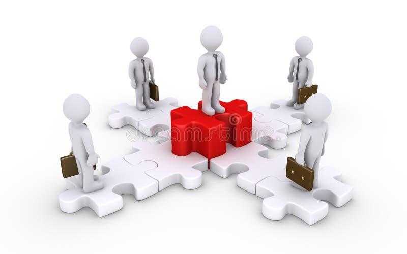 Hommes d'affaires sur les morceaux reliés de puzzle et patron illustration de vecteur