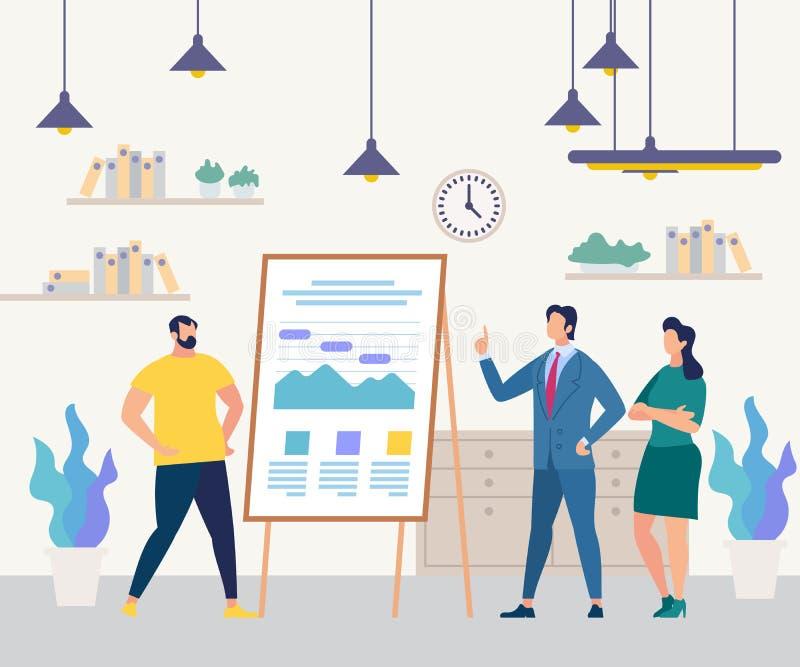 Hommes d'affaires Team Flip Chart Seminar Training illustration de vecteur
