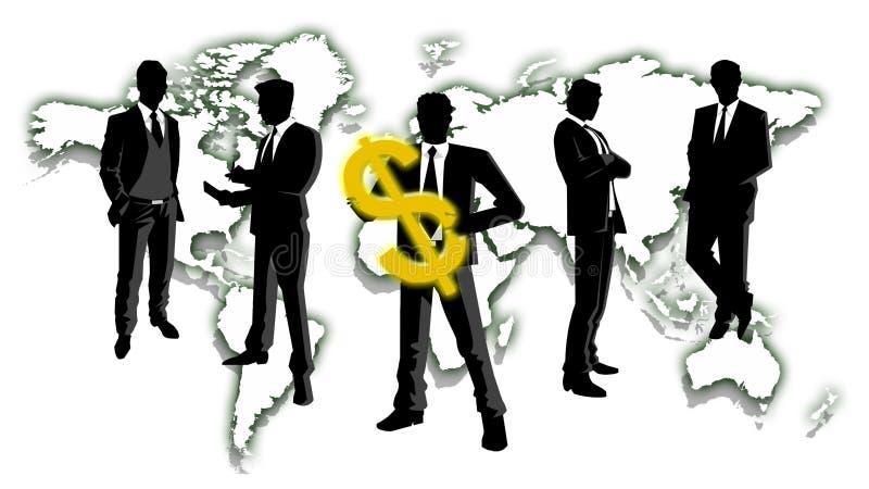 Hommes d'affaires tenant l'argent avec le fond de carte du monde photo libre de droits