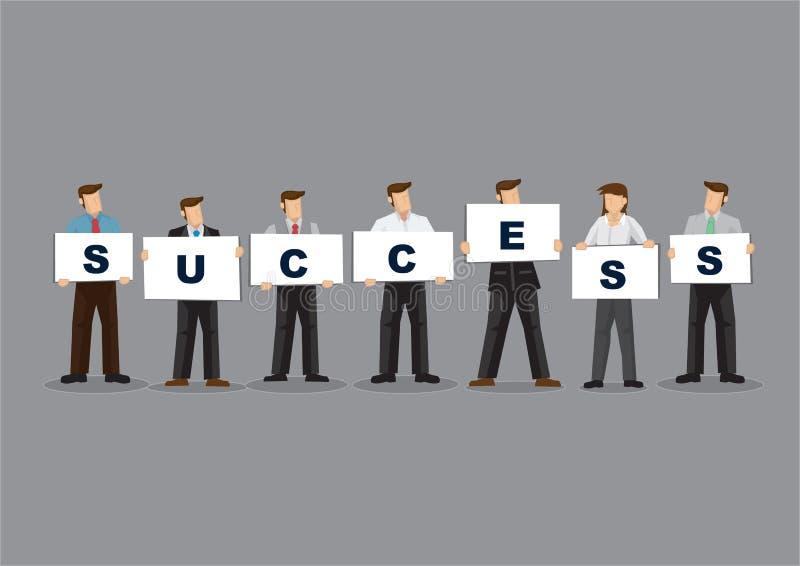 Hommes d'affaires tenant les signes de plaquette d'alphabet qui ont orthographié l'illustration de vecteur de bande dessinée de s illustration stock
