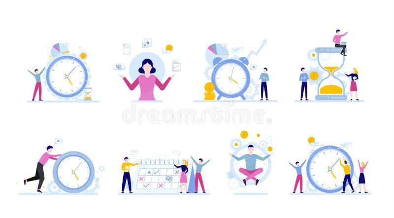 Hommes d'affaires travaillant dans le temps d'équipe et de plannnig illustration de vecteur